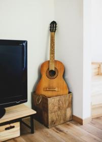 Gitara - mano pirmoji, kuria paauglystėje mokiausi. Vėliau keliavo per rankas, dabar sugrįžo. Bet renovuoti jos nebeverta. Luka turi savo naują. TV stovą sukalėme iš Ikea lentynų. Stovi neįjungtas, aš šiaip neigiu televizijos naujienas. Ir taip yra daug dalykų, kurie tirpdo smegenis.